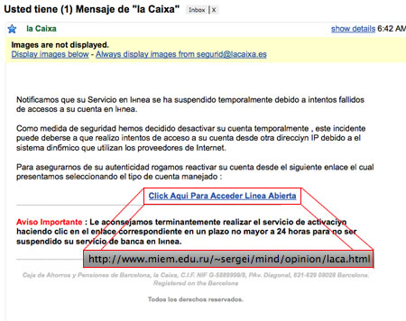 Phishing de la caixa pisito en madrid for La caixa oficina internet
