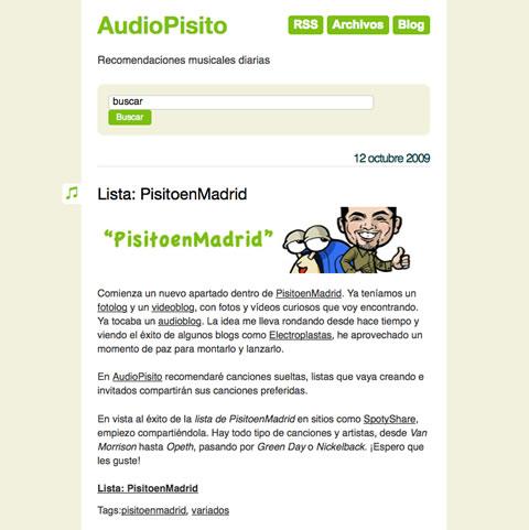 AudioPisito, recomendaciones musicales