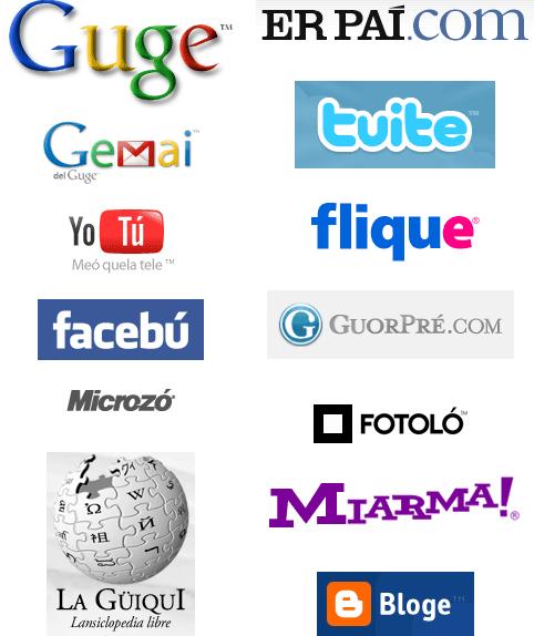 Logotipos de Internet en andaluz