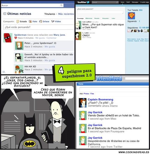 Los superhéroes y las redes sociales (Coomic)