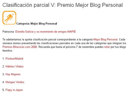 Penúltima clasificación de los Premios Bitacoras.com