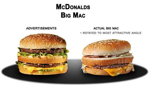 Fast food: anuncios y realidad